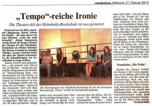 2013-02-27 Artikel Theateraufführung Tempo! (WR)